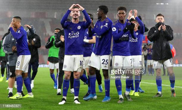 James Maddison of Leicester City acknowledges the crowd after the Premier League match between Southampton FC and Leicester City at St Mary's Stadium...
