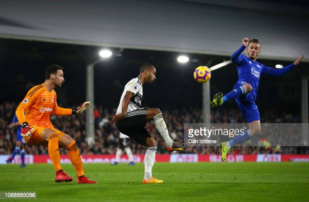 James Maddison of Leicester City and Aboubakar Kamara of Fulham clash during the Premier League match between Fulham FC and Leicester City at Craven...