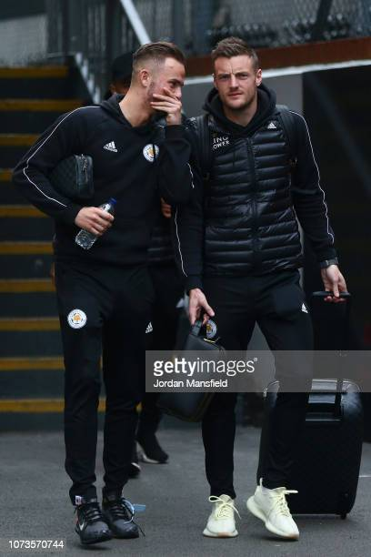 James Maddison of Leicester City and Jamie Vardy of Leicester City arrive at the stadium prior to the Premier League match between Crystal Palace and...