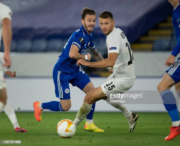 James Maddison of Leicester City and Vitaliy Vernydub of FC Zorya Luhansk in action during the UEFA Europa League Group G stage match between...