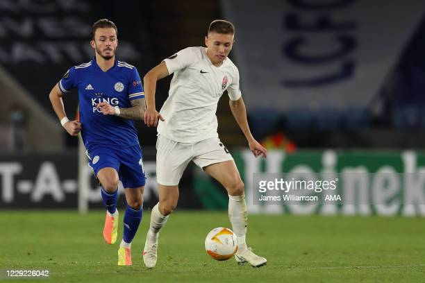 James Maddison of Leicester City and Yehor Nazaryna of Zorya Luhansk during the UEFA Europa League Group G stage match between Leicester City and...