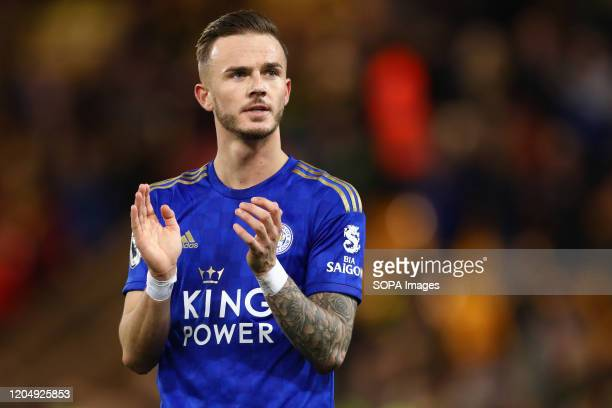 James Maddison of Leicester City applauds during the Premier League match between Norwich City and Leicester City at Carrow Road Final Score Norwich...