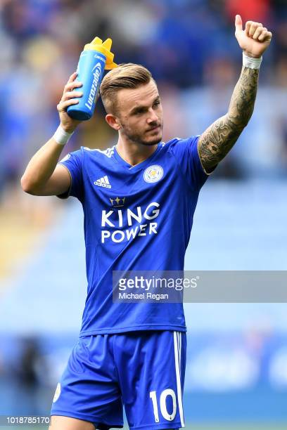 James Maddison of Leicester City applauds fans after the Premier League match between Leicester City and Wolverhampton Wanderers at The King Power...