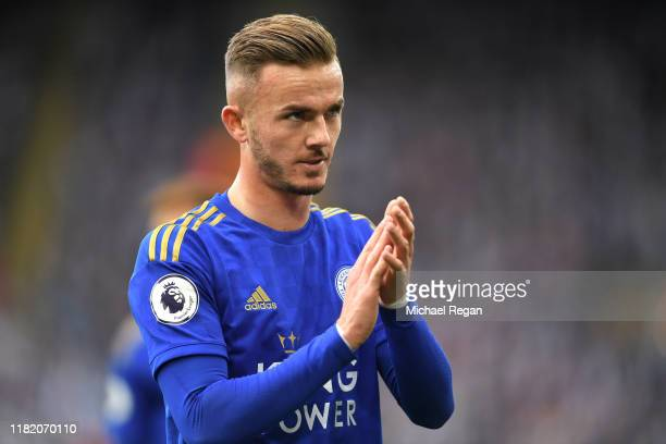 James Maddison of Leicester City applauds fans during the Premier League match between Leicester City and Burnley FC at The King Power Stadium on...
