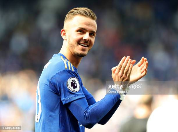 James Maddison of Leicester City applauds the crowd during the Premier League match between Leicester City and Chelsea FC at The King Power Stadium...