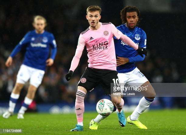 James Maddison of Leicester City battles for possession with Alex Iwobi of Everton during the Carabao Cup Quarter Final match between Everton FC and...