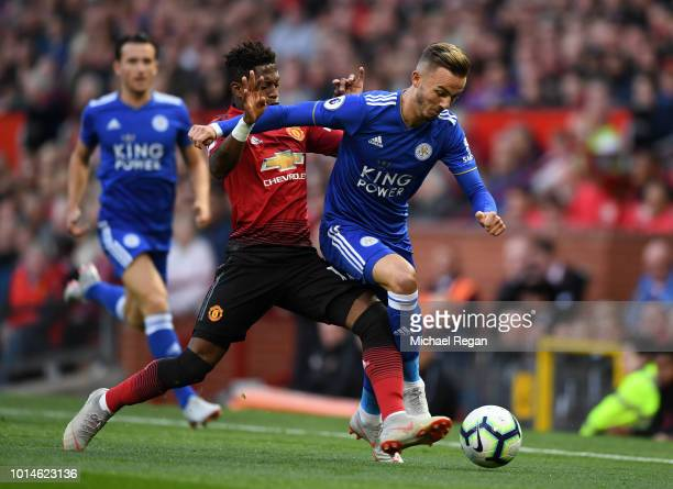 James Maddison of Leicester City battles for possession with Fred of Manchester United during the Premier League match between Manchester United and...