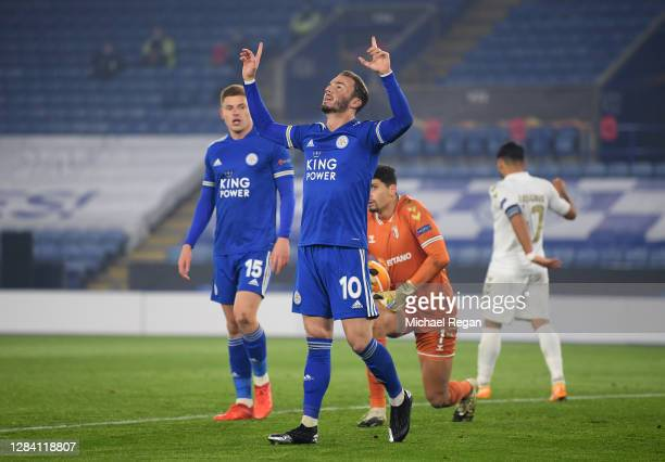 James Maddison of Leicester City celebrates after he scores his team's fourth goal during the UEFA Europa League Group G stage match between...