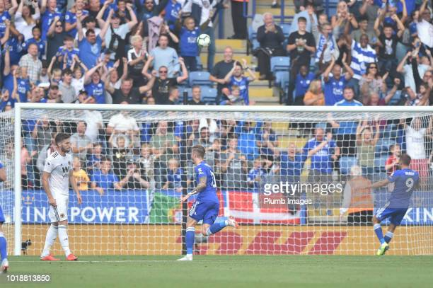 James Maddison of Leicester City celebrates after putting Leicester 20 ahead during the Premier League match between Leicester City and Wolverhampton...