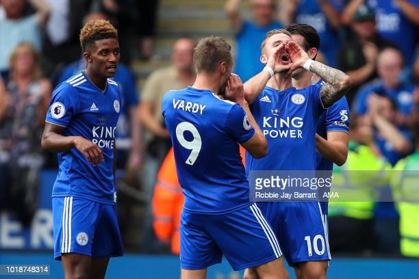 James Maddison of Leicester City celebrates after scoring a goal to make it 20 during the Premier League match between Leicester City and...
