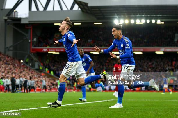 James Maddison of Leicester City celebrates after scoring a goal to make it 11 during the Premier League match between Liverpool FC and Leicester...