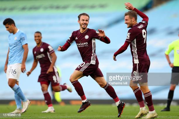 James Maddison of Leicester City celebrates after scoring his sides fourth goal during the Premier League match between Manchester City and Leicester...
