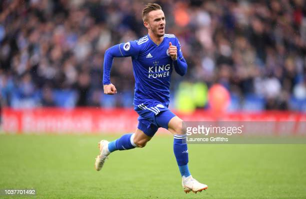 James Maddison of Leicester City celebrates after scoring his team's second goal during the Premier League match between Leicester City and...
