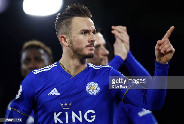 James Maddison of Leicester City celebrates after scoring his team's first goal during the Premier League match between Fulham FC and Leicester City...