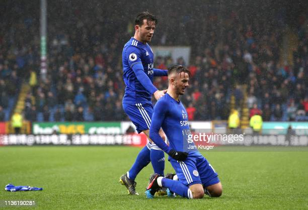 James Maddison of Leicester City celebrates after scoring his team's first goal with Ben Chilwell of Leicester City during the Premier League match...