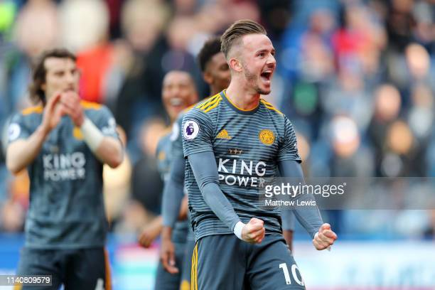 James Maddison of Leicester City celebrates after scoring his team's third goal during the Premier League match between Huddersfield Town and...