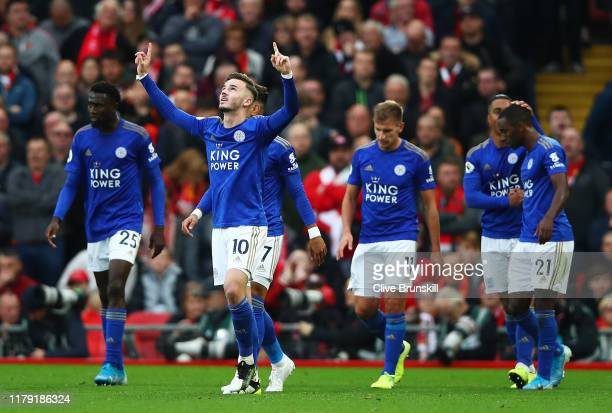 James Maddison of Leicester City celebrates after scoring his team's first goal during the Premier League match between Liverpool FC and Leicester...