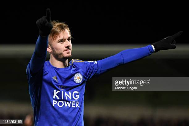 James Maddison of Leicester City celebrates after scoring his team's third goal during the Carabao Cup Round of 16 match between Burton Albion and...