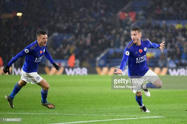 James Maddison of Leicester City celebrates after scoring his team's second goal during the Premier League match between Leicester City and Arsenal...