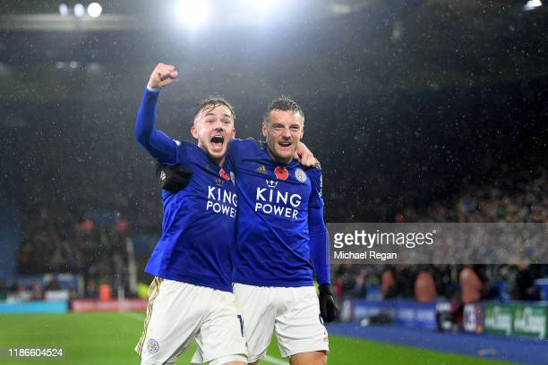 James Maddison of Leicester City celebrates after scoring his team's second goal with Jamie Vardy during the Premier League match between Leicester...