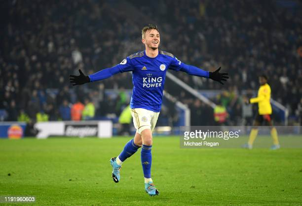 James Maddison of Leicester City celebrates after scoring his team's second goal during the Premier League match between Leicester City and Watford...