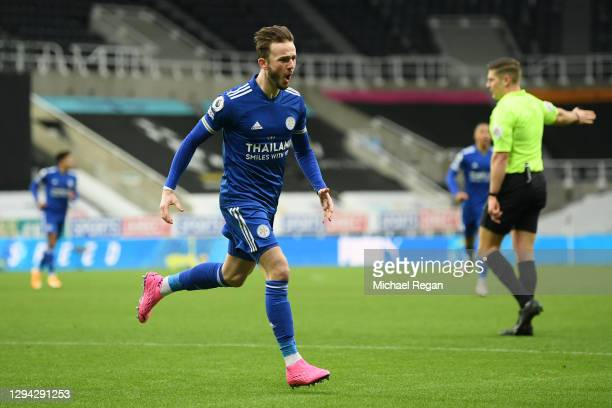 James Maddison of Leicester City celebrates after scoring their sides first goal during the Premier League match between Newcastle United and...