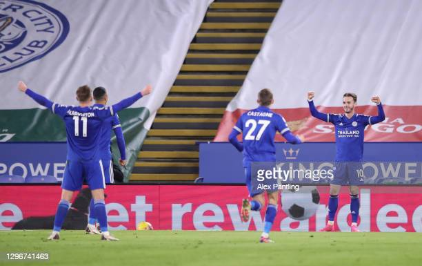 James Maddison of Leicester City celebrates after scoring their side's first goal during the Premier League match between Leicester City and...