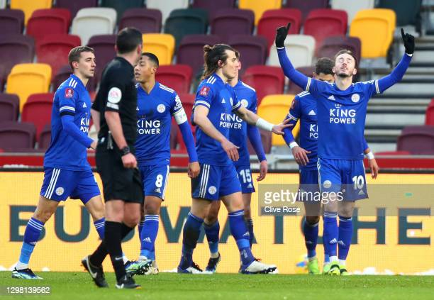 James Maddison of Leicester City celebrates after scoring their side's third goal during The Emirates FA Cup Fourth Round match between Brentford and...