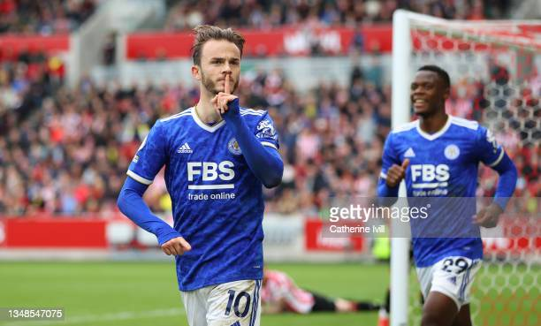 James Maddison of Leicester City celebrates after scoring their side's second goal during the Premier League match between Brentford and Leicester...