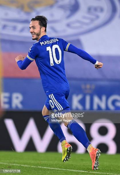 James Maddison of Leicester City celebrates after scoring their team's first goal during the Premier League match between Leicester City and Brighton...