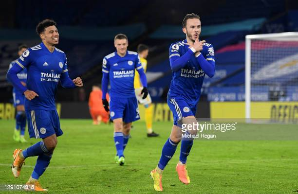 James Maddison of Leicester City celebrates after scoring their team's third goal during the Premier League match between Leicester City and Brighton...