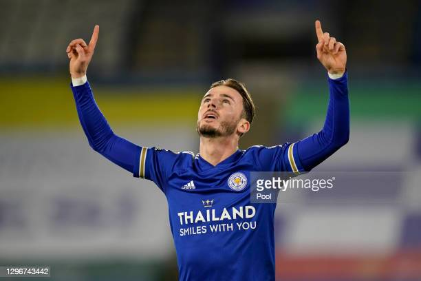 James Maddison of Leicester City celebrates after scoring their team's first goal during the Premier League match between Leicester City and...