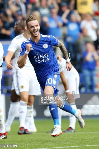 James Maddison of Leicester City celebrates after scoring to make it 20 during the Premier League match between Leicester City and Wolverhampton...