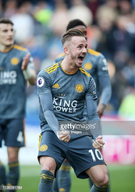 James Maddison of Leicester City celebrates after scoring to make it 1-3 during the Premier League match between Huddersfield Town and Leicester City...