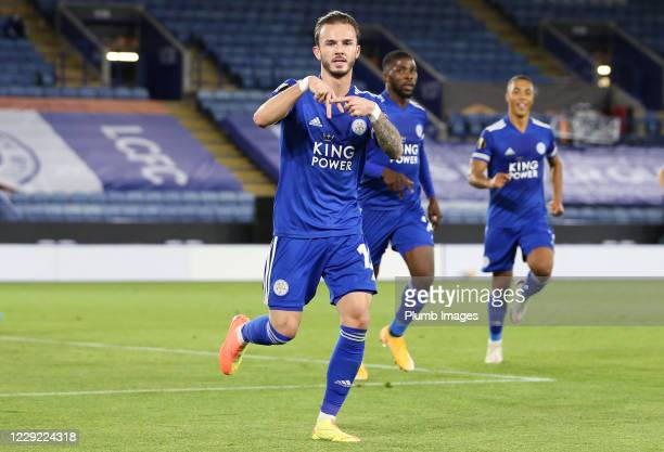 James Maddison of Leicester City celebrates after scoring to make it 1-0 during the UEFA Europa League Group G stage match between Leicester City and...
