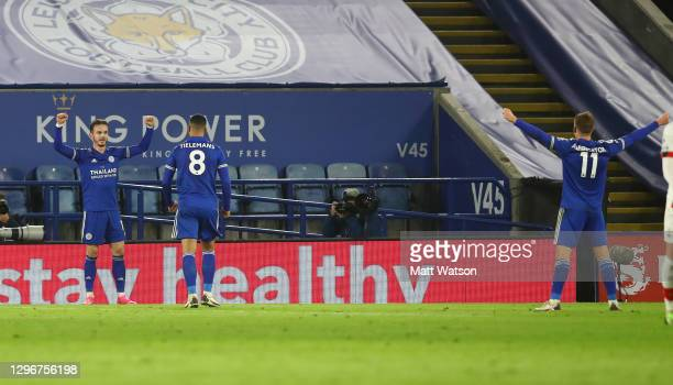 James Maddison of Leicester City celebrates during the Premier League match between Leicester City and Southampton at The King Power Stadium on...