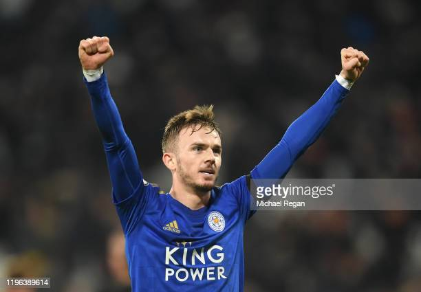 James Maddison of Leicester City celebrates following the Premier League match between West Ham United and Leicester City at London Stadium on...