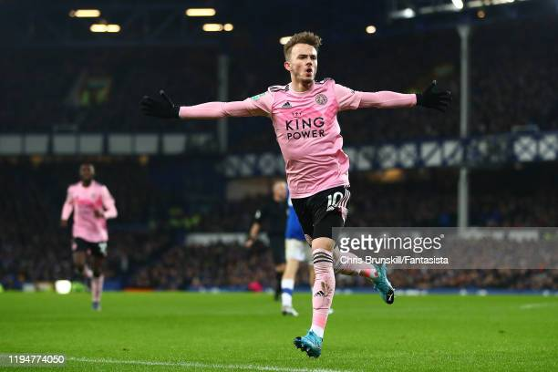 James Maddison of Leicester City celebrates scoring the opening goal during the Carabao Cup Quarter Final match between Everton FC and Leicester FC...