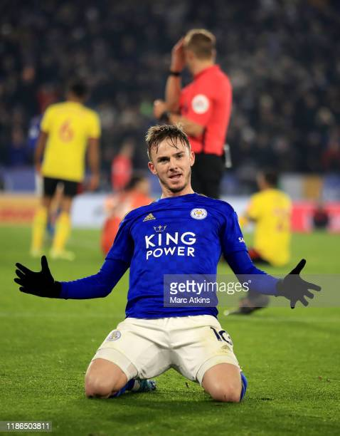 James Maddison of Leicester City celebrates scoring their 2nd goal during the Premier League match between Leicester City and Watford FC at The King...