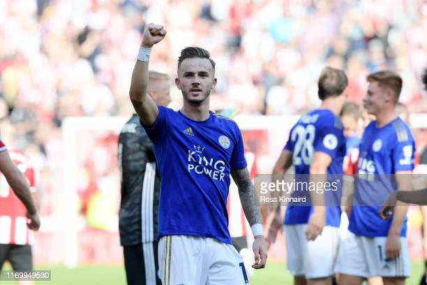 James Maddison of Leicester City celebrates victory after the Premier League match between Sheffield United and Leicester City at Bramall Lane on...