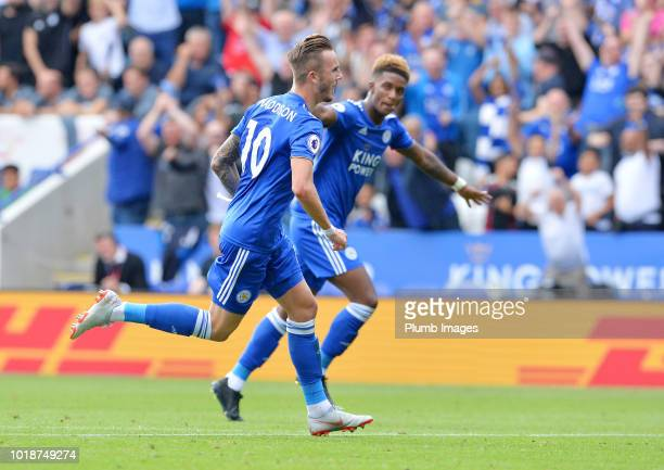 James Maddison of Leicester City celebrates with Demarai Gray of Leicester City after scoring to make it 20 during the Premier League match between...