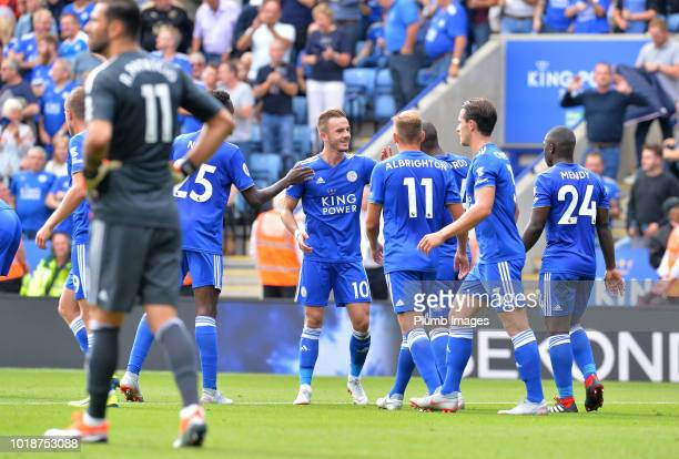 James Maddison of Leicester City celebrates with his team mates after scoring to make it 20 during the Premier League match between Leicester City...