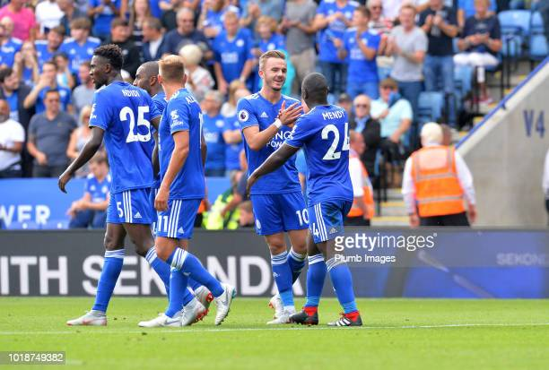 James Maddison of Leicester City celebrates with Nampalys Mendy of Leicester City after scoring to make it 20 during the Premier League match between...