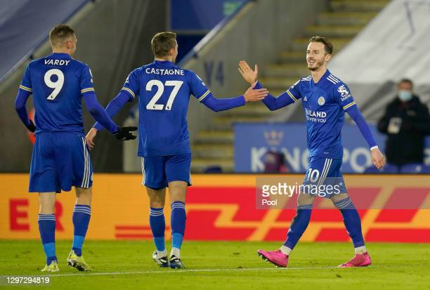 James Maddison of Leicester City celebrates with team mates Jamie Vardy and Timothy Castagne of Leicester City after scoring their sides second goal...