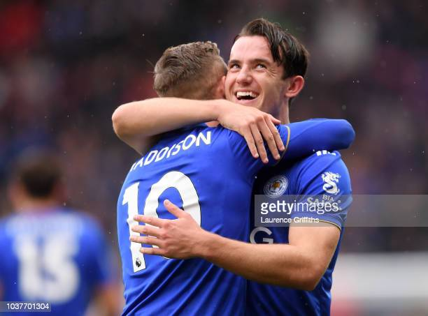 James Maddison of Leicester City celebrates with teammate Ben Chilwell after scoring his team's second goal during the Premier League match between...