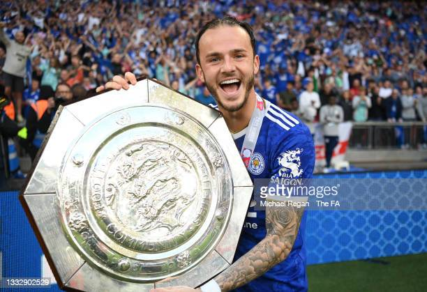 James Maddison of Leicester City celebrates with The FA Community Shield following victory in The FA Community Shield Final between Manchester City...