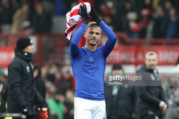 James Maddison of Leicester City clapping the away fans during the FA Cup match between Brentford and Leicester City at Griffin Park London on...