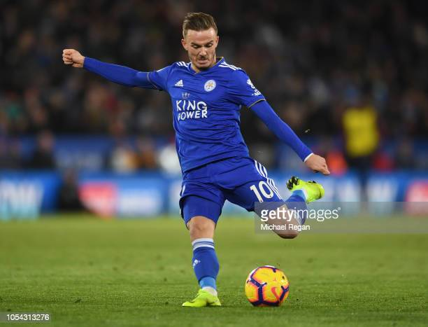 James Maddison of Leicester City crosses the ball during the Premier League match between Leicester City and West Ham United at The King Power...