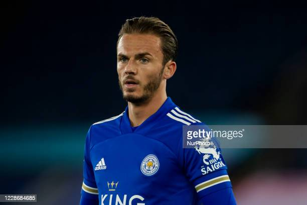 James Maddison of Leicester City during the Carabao Cup match between Leicester City and Arsenal at the King Power Stadium Leicester England on 23rd...
