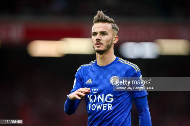James Maddison of Leicester City during the Premier League match between Liverpool FC and Leicester City at Anfield on October 5 2019 in Liverpool...